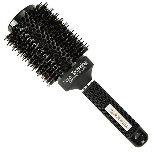 Round Rubber Brush (Roewell Thermal Geramic Ionic Round Barrel Anti-Static Hair Brush With Boar bristle, For Hair Drying, Styling, Curling, Protecting Hair and Adding Hair Shine (Black 2.1 inches))