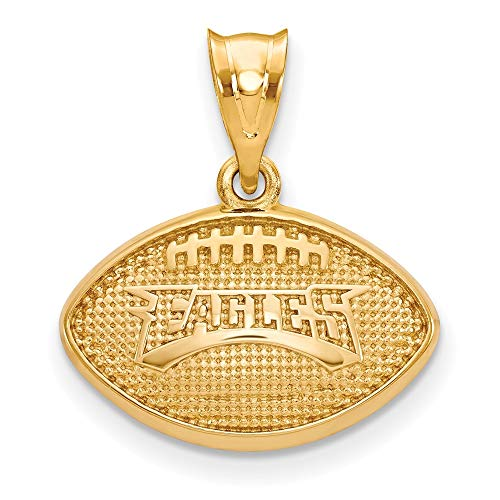 NFL Sterling Silver Gold-plated LogoArt Philadelphia Eagles Football Pendant