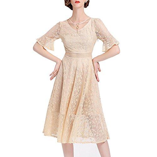 Beige Linie A Kleider girl Kleid Reine Midi E Spitze Hohl Partykleid Cocktailkleid YL13613 Damen Kurzarm fZww6Uq