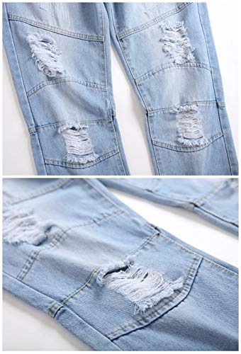 LZLER Mens Ripped Jeans,Distressed Destroyed Slim Fit Straight Leg Denim Pant with Holes