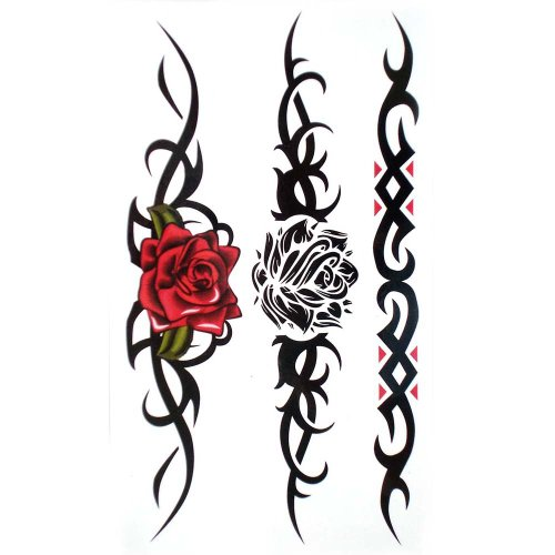 King Horse Waterproof and sweat tattoo sticker sexy red rose Black rose for women (Best Barbed Wire Tattoo)