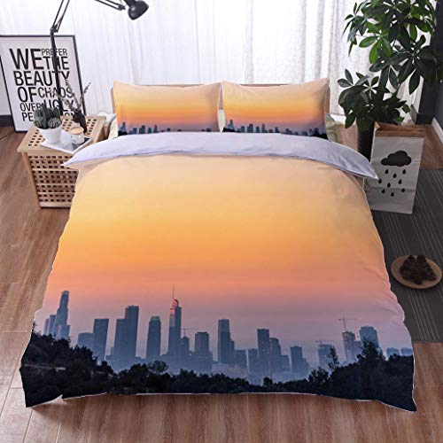 - HOOMORE Bed Comforter - 3-Piece Duvet -All Season, Los Angeles Skyline at Dawn Looking from Mt Hollywood,HypoallergenicDuvet-MachineWashable -Twin-Full-Queen-King-Home-Hotel -School
