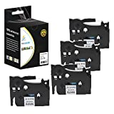 Catch Supplies 4 Pack Replacement TZe221 Black on White 3/8 Inch (9mm) Laminated Label Tape - Length 26.2ft (8m) - For use with the Brother P-Touch Label Printers