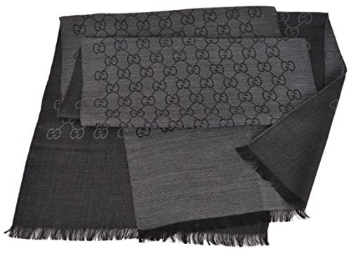 Gucci Women's 165904 Charcoal Grey Wool Silk GG Guccissima Scarf O/S by Gucci