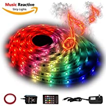 12V LED Strip Lights Sync To Beats of Music,Geekeep Music Reactive LED Light Strip 300 LED Lights SMD 5050 Waterproof Flexible RGB Strip Lights 360 Degrees Music Sensing Receiver (16.4ft/5M)