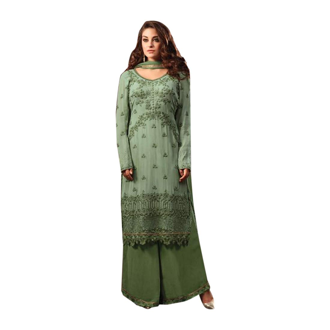 Amazon.com: Ethnic Wear Designer Georgette Straight Suit ...