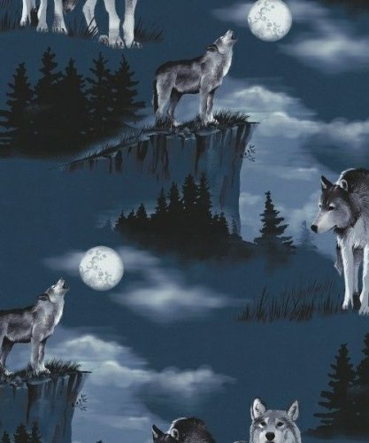 Baying at the Moon Wolves Wolf Fleece Fabric Print by the Yard a27914b (Moon Fleece Fabric)