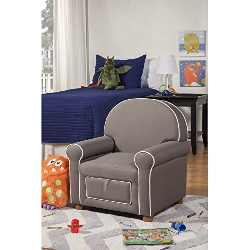 Kinfine Youth Upholstered Club Chair with Storage Drawer, Grey with White Piping (Matching Chairs Club)
