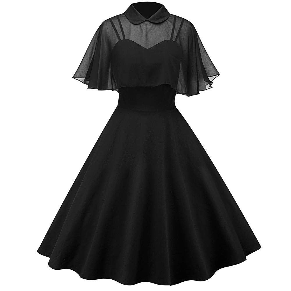 MAYOGO Damen Spitzen Bolero Kleid Frauen Ruffled Cape Wrape Schalkragen Solid Cocktailkleid Abendkleid Partykleid Rockabilly Kleid