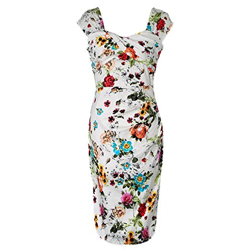 Women's Cap Sleeve Floral 1950s Vintage Bodycon Pleated - Womens Size 3 Easter Dress
