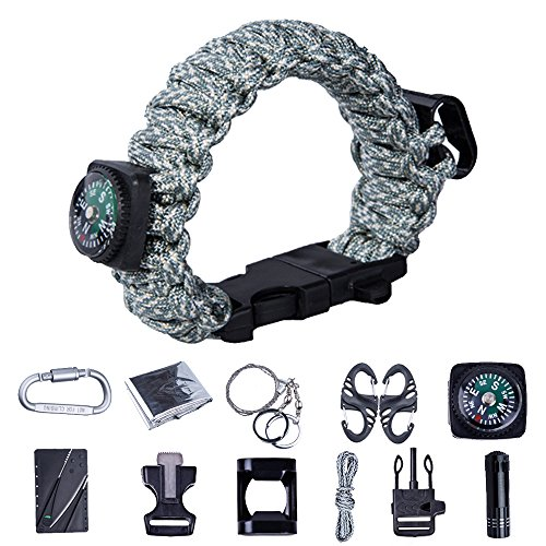 TTLIFE Ultimate 13-pieces Survival Kit including Paracord Bracelet (with Bottle Opener,Compass,Fire Starter,Whistle), BEST Survival Gear (Digital, - Wristband Opener Bottle