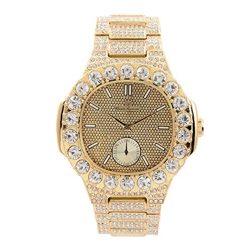 (Bling-ed Out Oblong Case Metal Mens Gold Watch with White Crystals at Bezel - ST10316 Gold )