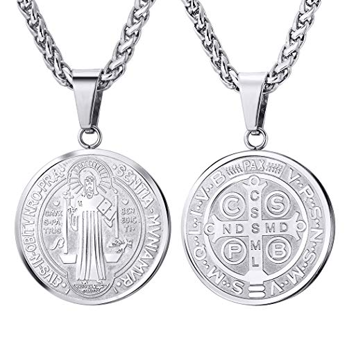 - U7 Men Catholic Roman Cross Demon Protection Jewelry Stainless Steel Chain Saint St Benedict Medal Pendant Necklace