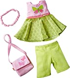 HABA Butterfly Dress Set - 4 Piece Ensemble with Headband, Purse, Dress and Capri's Fits 12' - 13.5' Soft Dolls