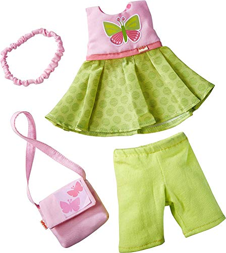 HABA Butterfly Dress Set - 4 Piece Ensemble with Headband, Purse, Dress and Capri's Fits 12