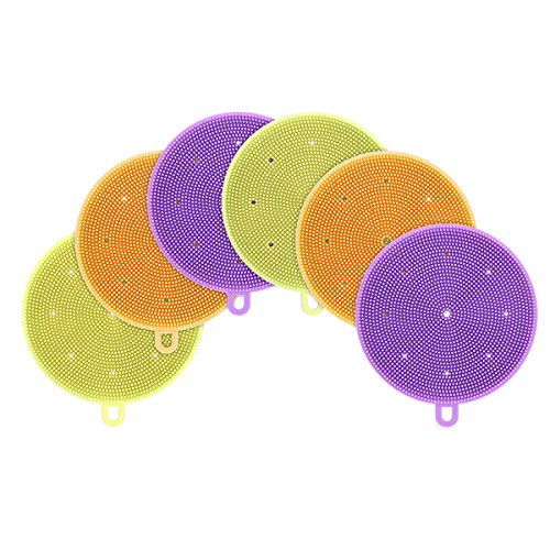 Accdata 6 Piece a-001 Silicone Sponges, Food-Grade Mildew-Free Dishwashing Scrubber for Washing Pot, Pan, Bowl, Fruit and Vegetables