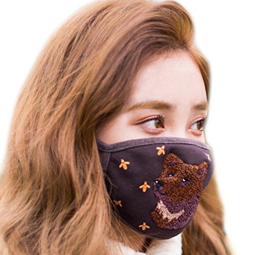 NORDIC ISLAND Fluffy Mask Unisex Adult Fashion Organic Cotton Mask (Bear)