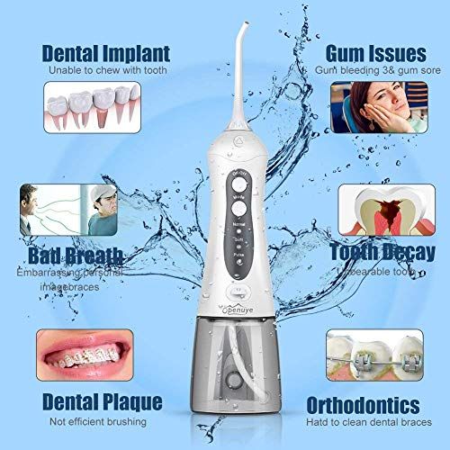 Openuye Water Flosser, Cordless Water flosser, Oral Irrigator, 3-Mode USB Rechargeable Water Dental Flosser, IPX7 Waterproof High-Frequency Pulsed Water Column Flosser with 4 Jet Tips