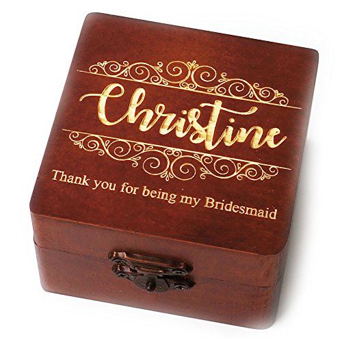 Awerise Personalized Brown Wooden Bridesmaid Box, Jewelry Box, Wedding Gift, Bridesmaid Gift, Wedding Favors