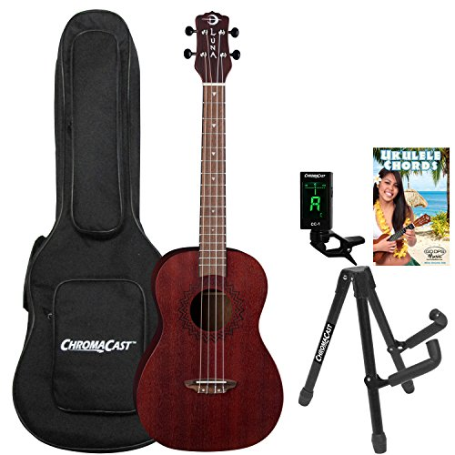 Luna Vintage Mahogany Baritone Ukulele with ChromaCast Accessories, Red Satin by Luna Guitars