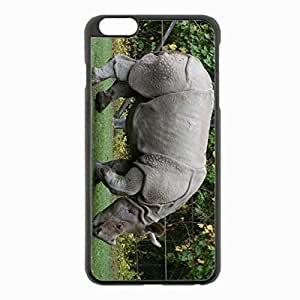 iPhone 6 Plus Black Hardshell Case 5.5inch - grass reserve rhino Desin Images Protector Back Cover