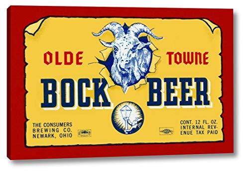 """Olde Towne Bock Beer by Vintage Booze Labels - 21"""" x 33"""" Gallery Wrapped Giclee Canvas Print - Ready to Hang"""