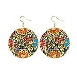 Meolin Vintage Tribal Big Round Earhook Fashion Multicolor Flower Drop Dangle Earring for Women Jewelry Accessories,2#