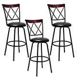Costway Swivel Bar Stool PU Leather Steel Counter Height Modern Bistro Pub Chair Set of 3