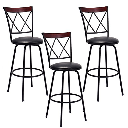 Costway Copper Set Of 4 Metal Wood Counter Stool Kitchen: COSTWAY Bar Stools, Modern And Classic Rotatable Counter
