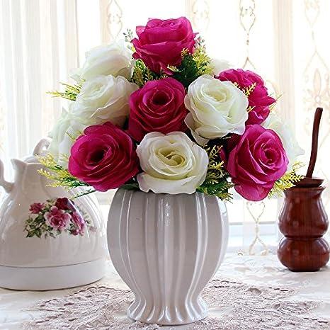T Continental emulación rosa Artificial flores maceta de plástico adornos Sala de estar mesa de comedor muebles, el rojo Durian + botella novia rosa: ...