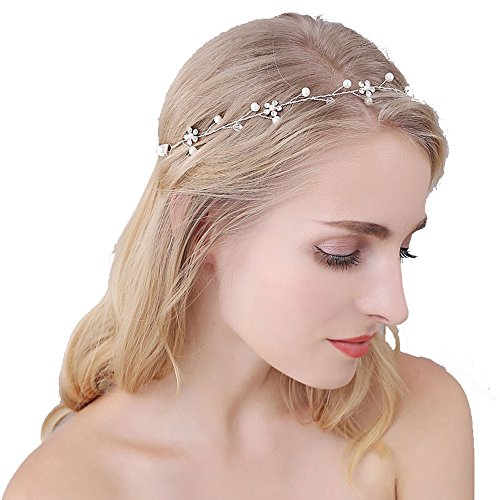 Roman Holiday Costume Ideas (Silver Crystal Headband OUMOU Hair Accessory Wedding Flower Girl Headbands Bridal Crowns and Tiaras Pearl Headpiece with Ribbon)