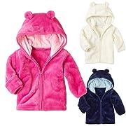 Newborn Baby Boys Girls Long Sleeves Zipper Bear Ears Hooded Jacket Coat Outwear (0-6 Months, Blue)