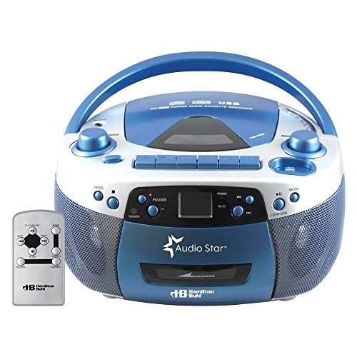 Hamilton Buhl AudioStar Boombox Radio, CD, USB, Cassette Player with Tape and CD to MP3 Converter (Boom Box Cassette Player)