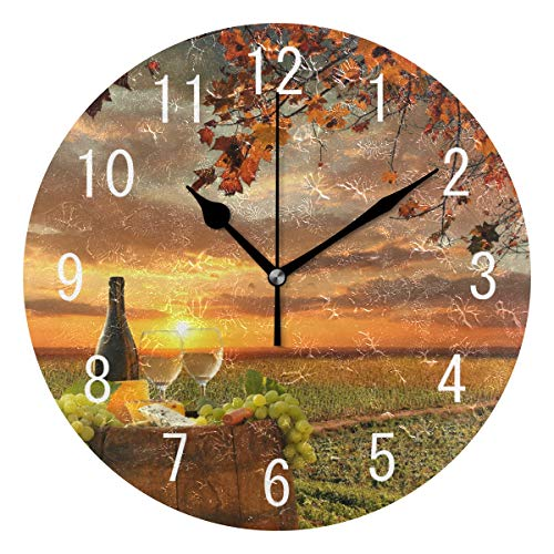 ALAZA Home Decor Sunset White Wine with Barrel on Vineyard Sunset Round Acrylic Wall Clock Non Ticking Silent Clock Art for Living Room Kitchen Bedroom