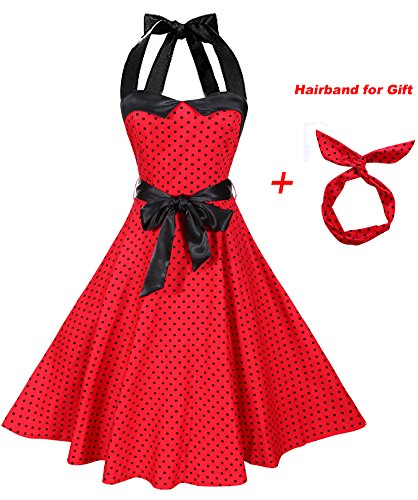 BI.TENCON Women's Vintage 1950s Rockabilly Red with Black Polka Dots Audrey Retro Cocktail Party Dress Plus (1950s Womens Clothes)