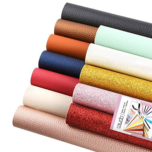 Caydo 12 Pieces 3 Style Faux Leather Fabric Sheet with Instructions, A4 Leather Sheets for Earrings Making Craft and Hair Bows Making (Leather Assorted Craft)