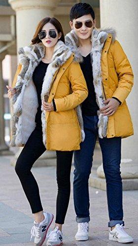 Fourrure Manteau Hommes Dtachable Capuche Veste paissir Femmes Classique Hiver FGYYG Jaune Fashion Chaud Polaire Parka Doudoune 6TYxCpq