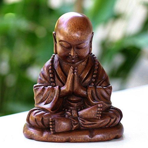 NOVICA Hand Carved Natural Suar Wood Religious Buddhist Sculpture from Indonesia 'Little Buddha Praying' by NOVICA (Image #3)