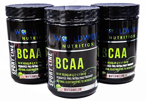 Worldwide Nutrition BCAA Powder, Branched Chain Amino Acids, BCAAs, 2:1:1 Ratio, Pre Intra Post Workout Supplement for Men And Women, Natural Electrolytes to Increase Energy, Watermelon, 30 Servings by World Wide Nutrition