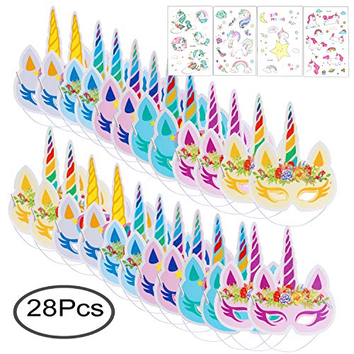 Standie 24+4 PCS Paper Masks for Unicorn Party Supplies with Temporary Tattoos  -