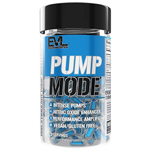 Evlution Nutrition Pump Mode Nitric Oxide Booster to Support Intense Pumps, Performance and Vascularity (Capsules, 20 Servings)
