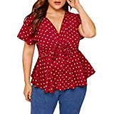 WUAI-Women T-Shirt,Plus Size V Neck Short Sleeve Polka Dot Knot Front Slim Fit Casual Shirts Tops