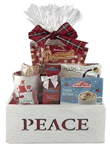 Holiday Christmas Gift Basket Wooden Box Premium Assorted Snacks Peppermint Chocolate Popcorn Cookies Cocoa (Red)