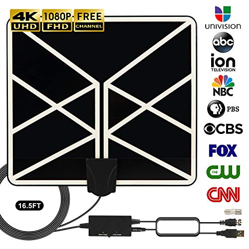 HDTV Antenna 4K 1080p, 2019 New Indoor Amplified Digital TV Antenna 120 Miles Range with Amplifier Signal Booster Free Local Channels Support All Television with 18 FT Coaxial Cable (Black) (The Best Hdtv Antenna On The Market)
