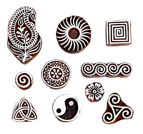 Hashcart Baren for Block Printing Stamps/Wooden Stamping Block/Handcarved Designer Craft Printing Pattern for Saree Border,Henna/Textile Printing,Scrapbooking,Pottery Crafts & Wall Painting,Set of 10