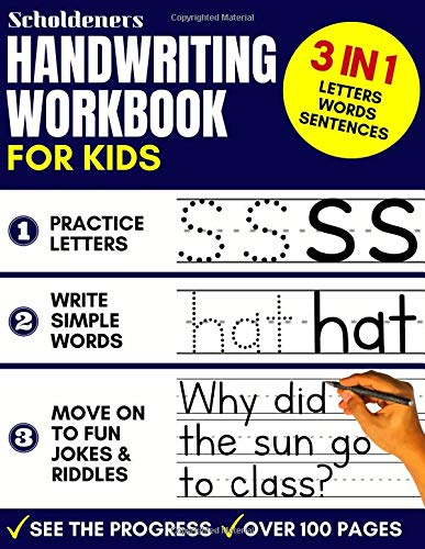 Handwriting Workbook For Kids 3 In 1 Writing Practice Book To Master Letters Words Sentences Children S Books On Books Price Com