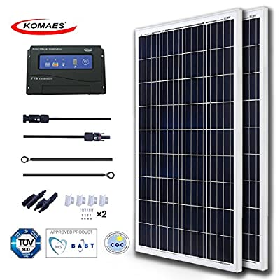 KOMAES 200 Watts 12 Volts Polycrystalline Solar Starter Kit with 20A PWM Charge Controller + 20ft Tray Cable + 20ft MC4 Connectors + Mounting Z Brackets
