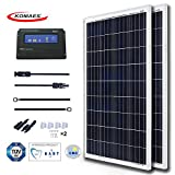KOMAES 200 Watts 12Volts Polycrystalline Solar Panel Energy-efficient Tech Kit Includes 20Amp PWM Solar Charge Controller, 20ft Tray Cable, 20ft MC4 Cable, Branch Connector, Mounting Z Brackets