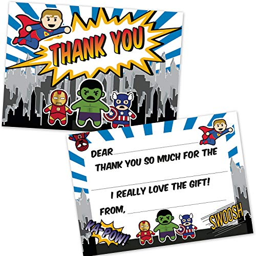 Fill In Blank The Invitations - Superhero Kids Fill in The Blank Thank You Cards (20 Count with Envelopes) - Boys Birthday Party Thank You Notes - Super Hero Party Supplies