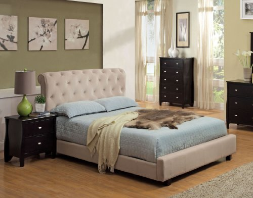 Furniture of America Wilshire Tufted Velvet Platform Bed, Queen, Beige